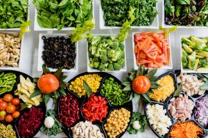 colorful vegetables and salad
