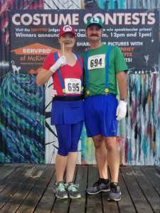 Dressed as mario and luigi for the Monster Dash 5k